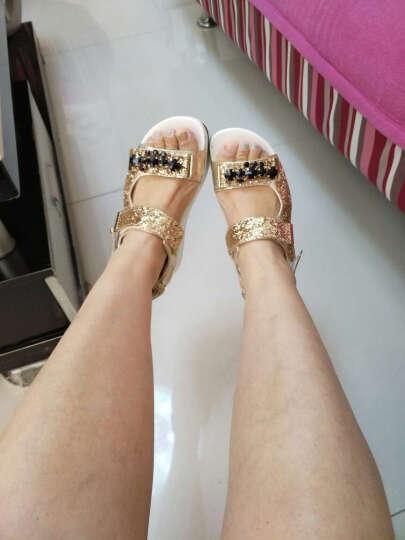 笑点 2018夏季新款凉鞋女松糕厚底凉鞋休闲魔术贴防水台水钻凉鞋坡跟女鞋 银色 34 晒单图
