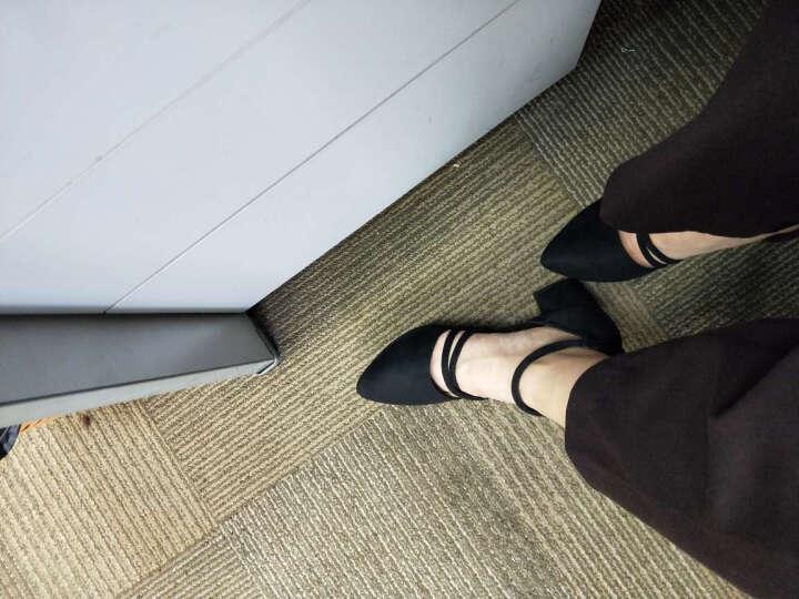 行森2017凉鞋女夏韩版一字扣中空浅口鱼嘴高跟鞋粗跟尖头中跟大小码女鞋 黑色1 38 晒单图