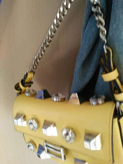 PRAVESDA2017新款欧美时尚百搭撞色铆钉女包小方包金属链条单肩斜挎包方块真皮女包 黄色 晒单图