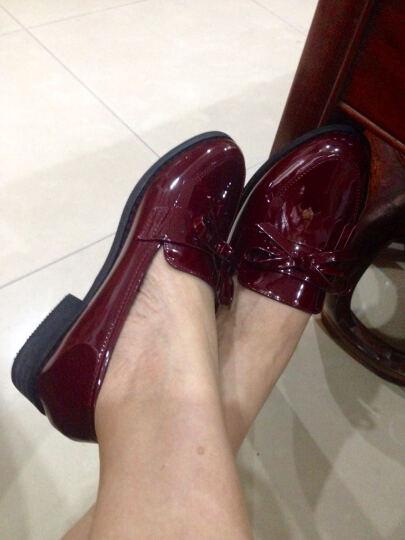 莱卡金顿单鞋2018小皮鞋粗跟漆皮女鞋时尚英伦风粗跟单鞋女流苏浅口工作休闲女鞋 黑色 38 晒单图