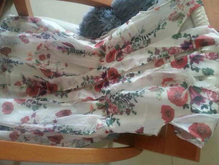 秋水伊人2017夏装新品女装优雅印花短袖圆领修身腰带连衣裙裙子 本白 M 晒单图