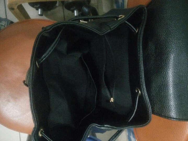 薇思黛  双肩包女 2017新款女包欧美pu皮学生书包休闲学院风潮流时尚女士包包背包 黑加白色 晒单图