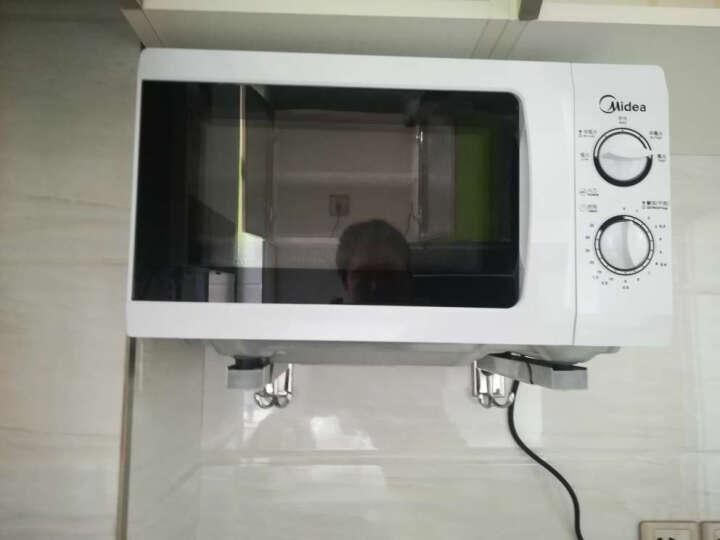 蓝牡丹304不锈钢微波炉支架厨房置物架烤箱托架微波炉架子挂架单层壁挂式厨房用品 304不锈钢带钩加厚款 晒单图