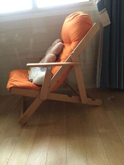 创运北欧休闲椅现代简约沙发椅靠背成人椅客厅加厚布艺折叠椅阳台椅帆布懒人椅舒服躺椅实木椅子舒适午睡椅子 活力橙 晒单图
