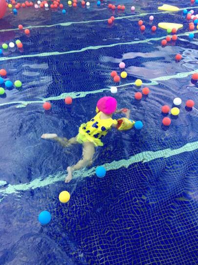儿童浮力泳衣 可拆卸背漂背浮连体男童女童训练游泳衣 救生衣儿童 彩虹绿点 XL 晒单图