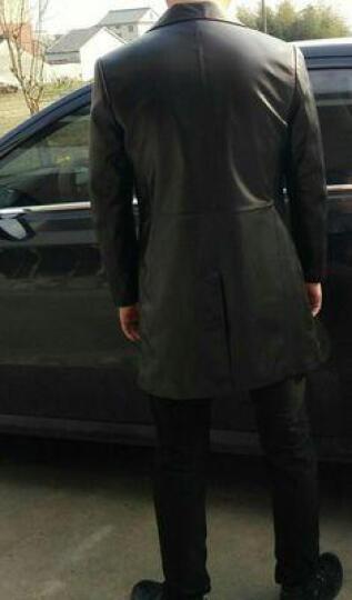 索伦森 2018新款真皮皮衣男士海宁绵羊皮中长款风衣修身真皮羽绒服男西装领外套 黑色单款 175/XL 晒单图