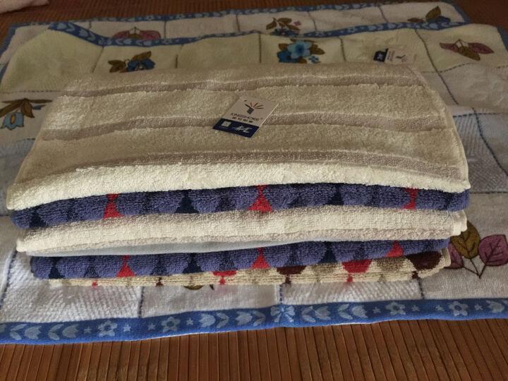 金号纯棉大气格子毛巾洗脸毛巾四条装多款可选 经典条纹款灰棕各两条 晒单图
