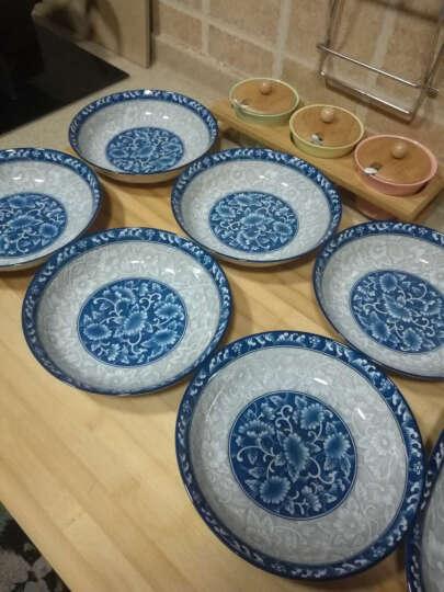 敏杨 套装盘子(4只装)陶瓷盘子菜盘家用水果盘子瓷器中式餐具 菜碟子7/8英寸盘子 7英寸金叶情缘 晒单图