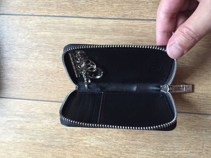 ELLE HOMME 钥匙包男商务男士车用锁匙包卡包拉链头层牛皮小包 黑色10500111627504551 晒单图