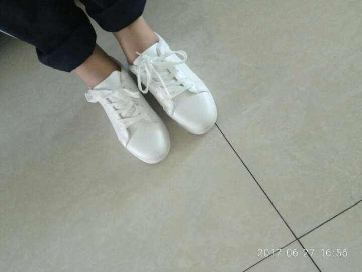 休闲鞋女小白鞋女鞋春夏季新款经典时尚内增高板鞋韩版松糕鞋女学生厚底运动跑步鞋帆布鞋 315款白黑色 39 晒单图