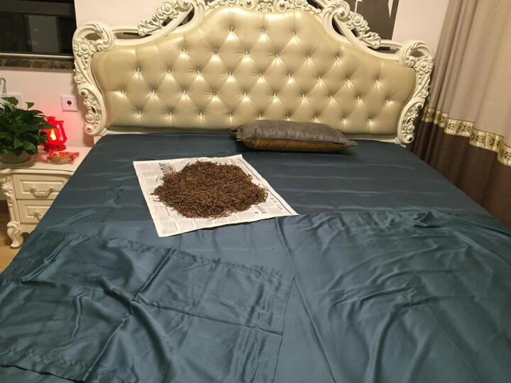 壹号馆 天丝四件套床上纯色北欧纽扣款60支床单床笠被套床品套件美式 璀璨淡金 1.8米床单款/被套2.0*2.3米 晒单图