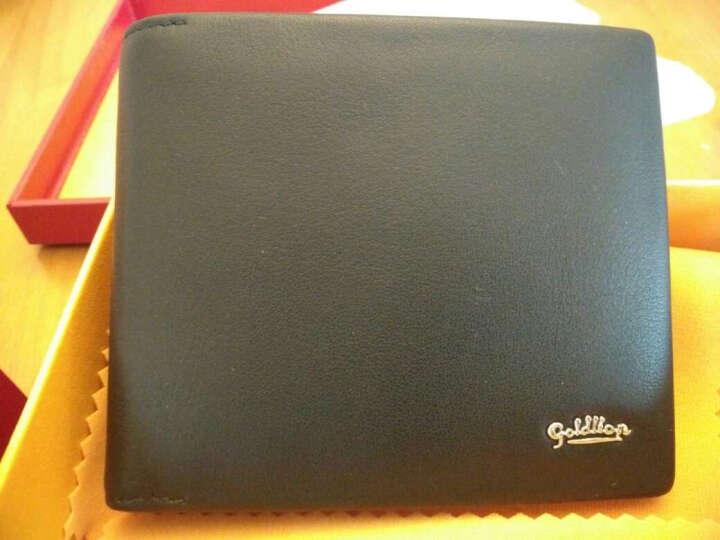 金利来(Goldlion)新款男士钱包商务休闲多功能钱夹牛皮票夹 横款黑色B715009-211 晒单图