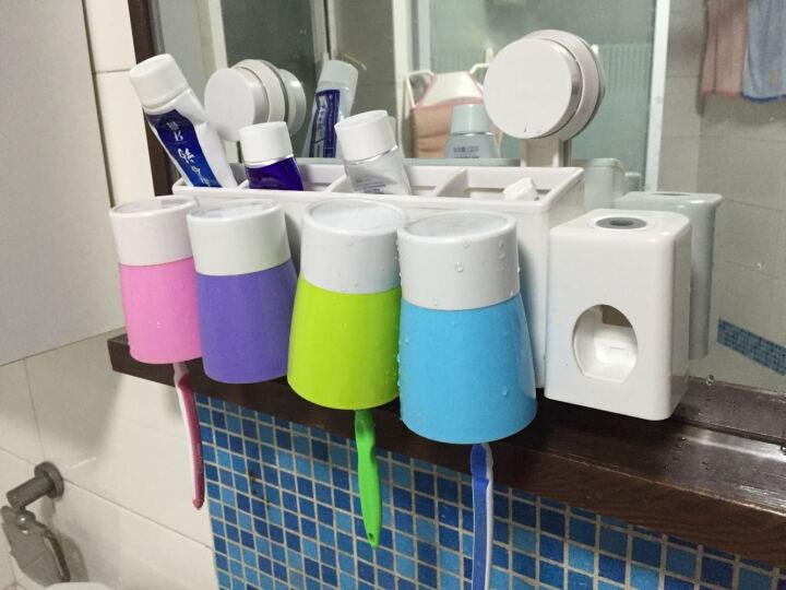 挂壁式牙刷架套装漱口杯创意吸盘牙刷架子牙刷杯洗漱组合套装用具浴室置物架 四口之家 晒单图