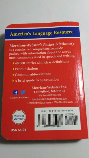 Merriam Webster's Pocket Dictionary 韦氏词典,便携版 晒单图