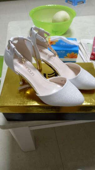 卡芭斯2019新款凉鞋女夏性感中跟高跟鞋欧美时尚细跟包头浅口女单鞋子 粉色 37 晒单图
