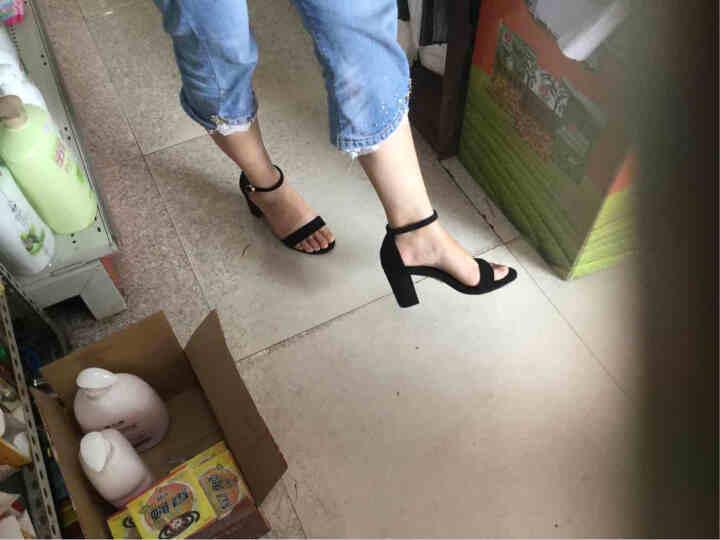 plover凉鞋女夏尖头高跟女鞋真皮欧美通勤百搭凉鞋 黑色-鱼嘴 37 晒单图