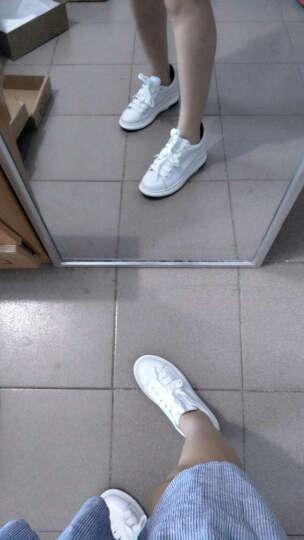 高蒂女鞋牛皮小白鞋女春季新款韩版ins超火的休闲鞋女圆头系带厚底松糕鞋女 白色 36 晒单图