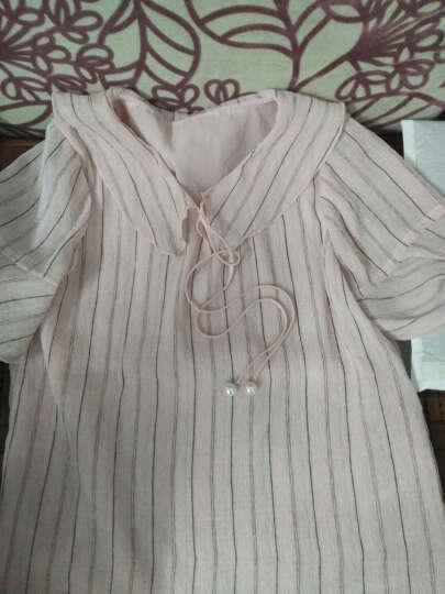 一米阳光雪纺衫短袖百搭娃娃领女2018夏装新款韩版柔美女装喇叭袖时尚上衣 粉色 L 晒单图