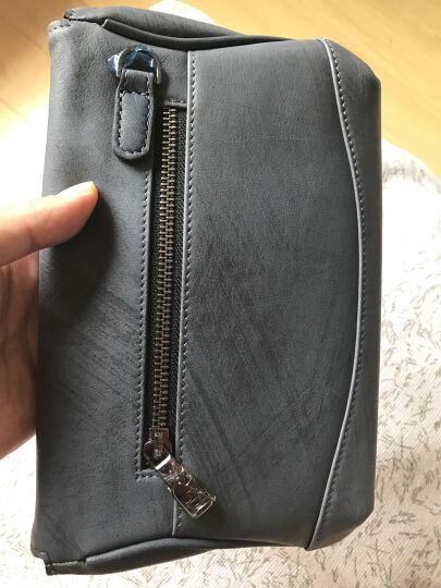 【七夕礼物】Goldlion/金利来 新款商务拉链手拿包 横款方形柔软牛皮手包多卡位 蓝灰 晒单图