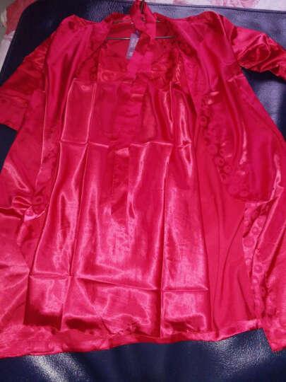 纤慕睡衣女春夏季性感防真丝睡衣吊带睡裙睡袍韩版睡衣家居服套装 浅紫色刺绣款 175/105 (XL) 晒单图