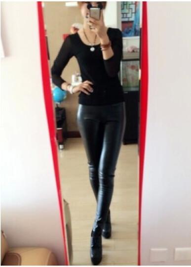 琳漾服饰 秋冬款高腰皮裤紧身铅笔裤小脚休闲显瘦长裤 PU皮裤 米色 XL 晒单图