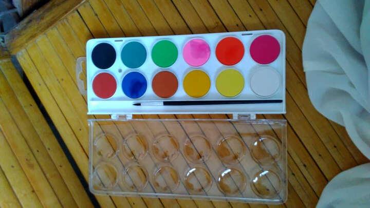 雄狮儿童粉饼透明固体水彩颜料套装  12/16/28/36色水粉画颜料填色套装 12色 送水彩笔1支 单盒 晒单图