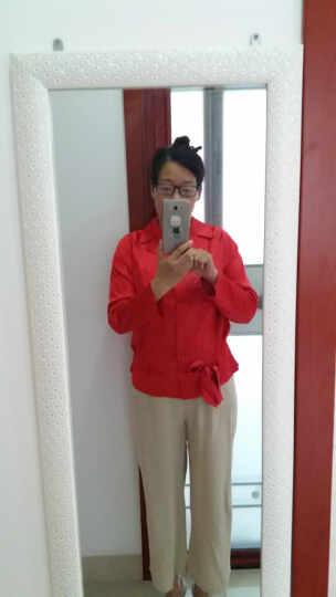 VOA枫叶红弹力缎面桑蚕丝西装领插肩长袖抽褶腰系带合身光滑衬衫B1072 枫叶红(124) XXL 晒单图