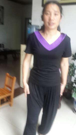 短袖莫代尔广场舞服装夏季新款中老年上衣修身V领圆领舞蹈服女 黑+紫色(双V领) XXL 晒单图