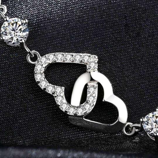 SWM 925纯银手链女士款学生韩版心形时尚首饰品圣诞节生日礼物送女友可刻字 心心相印白-桃心型 晒单图