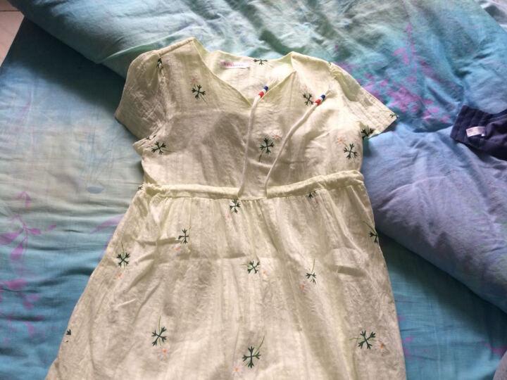 佳玬孕妇装2019夏装纯棉孕妇裙印花中长款短袖孕妇连衣裙潮妈 白色 L 晒单图