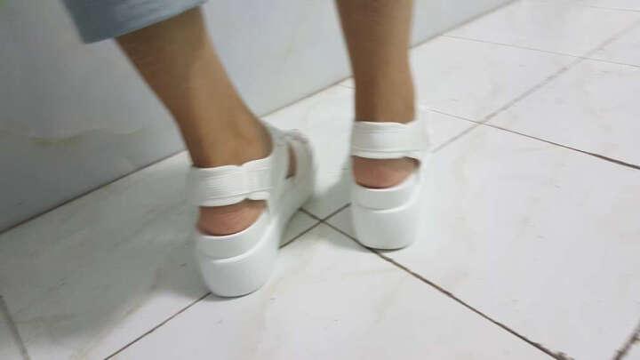 vis kitty新品 时尚潮牌 专柜正品 时尚厚底休闲凉鞋女 白色 38 晒单图