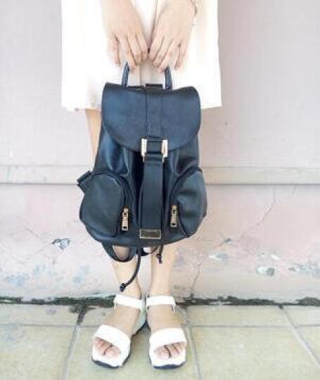 【特价女神包包三件套】花语佳人  新款时尚百搭学院风韩版潮流 双肩包背包女包 黑色 晒单图