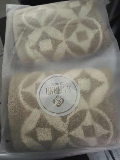 洁丽雅(Grace)毛巾家纺 复古铜钱系列纯棉强吸水面巾 两条装 棕 115g/条 34*76cm 晒单图