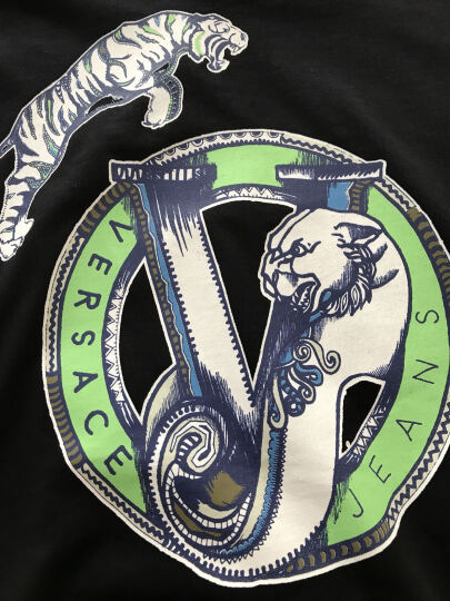 VERSACE JEANS 范思哲 男士 黑色棉质老虎图案长袖T恤 B3GOA736 36591 899 XXL码 晒单图
