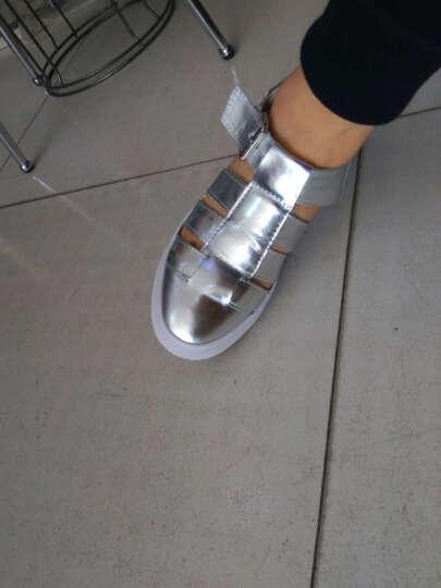 阳光姐妹 罗马女士凉鞋 女学生夏2017新款百搭平底包头镂空小白鞋 时尚银色 36 晒单图