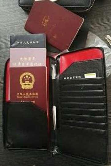 德国Modern创意多功能护照包 真皮韩版拉链机票夹 旅行护照夹收纳包证件袋 商务长款大容量钱包卡夹 米褐色带笔 晒单图