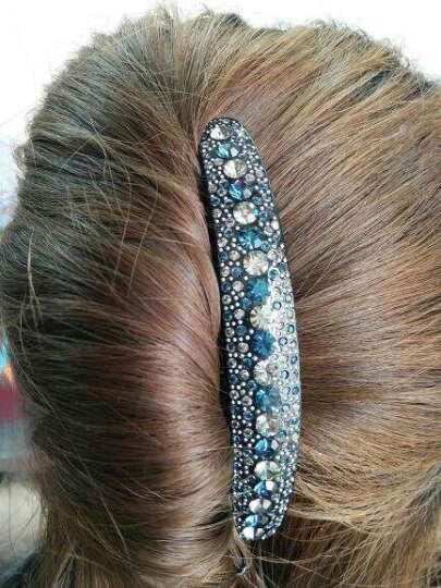满意轩stellux水钻七齿盘发插梳 发梳气质发卡发插盘发发饰 女百搭头饰 深蓝+灰 晒单图