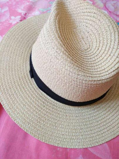 卡布利缇 帽子女夏天遮阳帽草帽韩版可折叠防晒太阳帽大沿沙滩帽礼帽 草编礼帽 米黄 晒单图