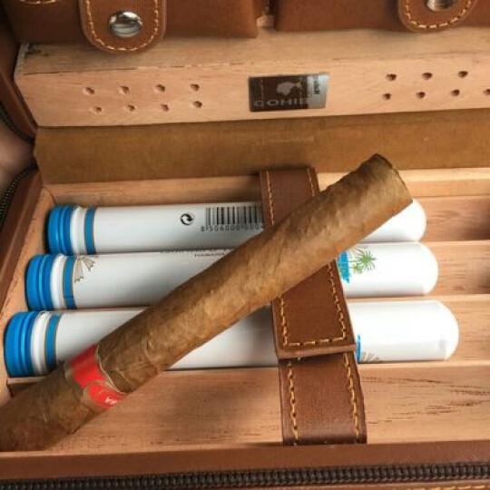雪茄保湿盒 便携雪松木保湿雪茄盒 烟具盒套装 打火机雪茄剪刀三件套 送男士礼物商务礼 咖啡色 晒单图