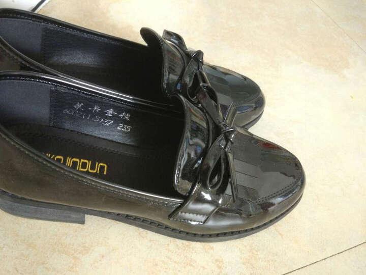 莱卡金顿 单鞋女休闲女鞋子时尚皮鞋低帮学生浅口鞋 黑色 37 晒单图