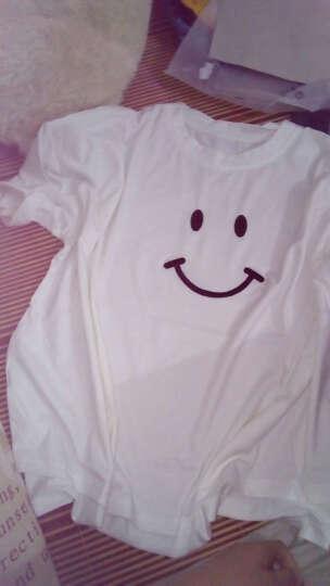 娇茹妮 韩国夏装特加肥加大码半袖上衣蝙蝠衫刺绣笑脸宽松大款短袖t恤女 白色 M 晒单图