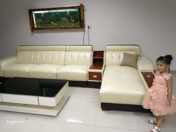 家家欢 真皮沙发 头层牛皮带充电器茶几功能 懒人沙发客厅家具组合 1616 双人位+贵妃位 晒单图
