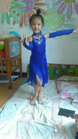 儿童拉丁舞演出服少儿女童拉表演练功服装女孩比赛考级服新款亮片流苏 宝石色 130码/建议身高130cm 晒单图