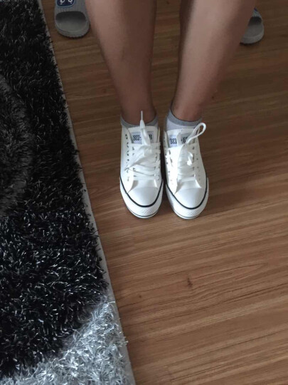 蓓尔内增高帆布鞋女鞋低帮韩版女鞋子板鞋学生鞋休闲鞋子女士厚底松糕鞋白色布鞋小白鞋平底单鞋女 819-618白色 36 晒单图