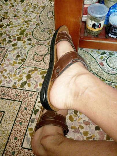 LUCCST  夏季透气凉鞋男 男士真皮凉拖鞋沙滩鞋 休闲男鞋洞洞鞋户外溯溪鞋10622 棕色13082 40 晒单图