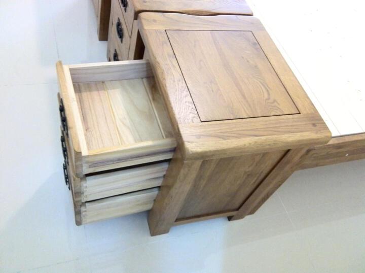 华谊(HUAYI)餐椅 实木餐桌椅 橡木书桌椅木面办公椅子2把(1.10发货) 横条木面*2把 晒单图