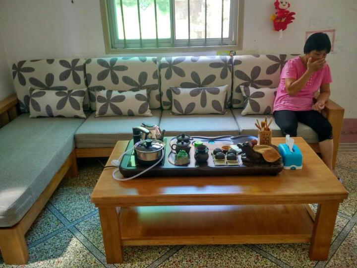 富野 实木沙发新中式香樟木沙发客厅组合双人位沙发单人三人位办公沙发 1+2+3+长茶几+方几(送2个小凳子) 晒单图