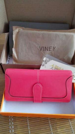 Viney钱包 女长款女士钱包新款女式卡包手拿包女油蜡真皮手包女 西瓜红 晒单图