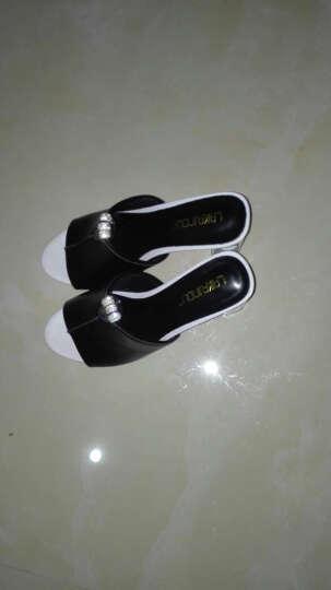 拖鞋女2017夏季新款露趾高跟凉拖水钻粗跟凉鞋女防水台女鞋子 黑色 35 晒单图