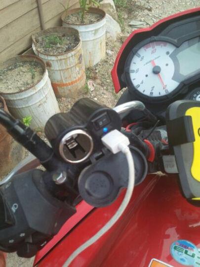 IZTOSS摩托车改装配件防水点烟器USB充电器车充二合一带开关手机导航仪GPS车充供电 黑色升级版配点烟默认配12V点烟头 晒单图